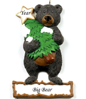 Black Bear Personalized Christmas Ornament