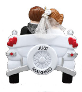 Vintage wedding car personalized christmas ornament