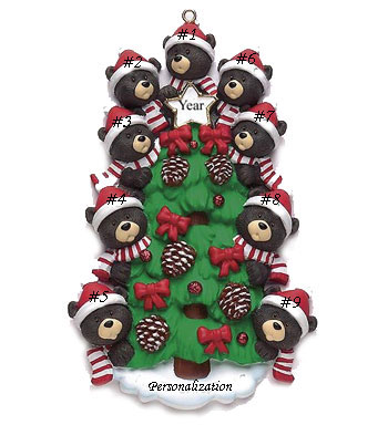 Bear Tree Family Of 9 Personalized Christmas Ornament